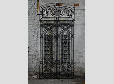 Antique Art Deco wrought iron door with fruit basket