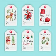 colorful watercolor merry christmas labels with christmas elements and drawn letters