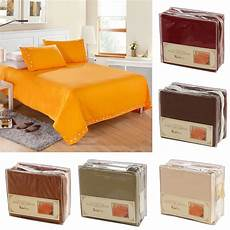 4 piece bed sheet set quilt cover pocket 6 colors twin full queen king size ls ebay