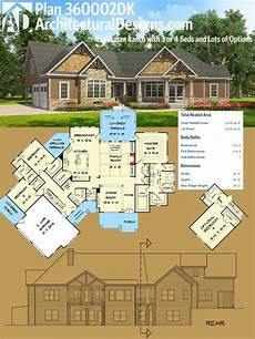 ranch house plans with bonus room plan 360002dk craftsman ranch with 3 or 4 beds and lots