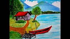 Cara Menggambar Pemandangan Alam Rumah Di Tepi Danau Versi