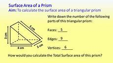surface area of a triangular prism teaching resources