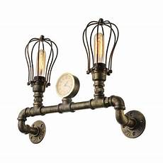 brass 2 light led pipe wall sconce in cage style takeluckhome com