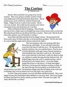 reading comprehension worksheet the cowboy