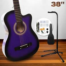 38 Quot Beginners Cutaway Acoustic Guitar Pack Stand Purple