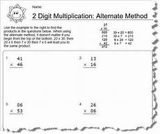 worksheets using an alternative method for 2 digit multiplication