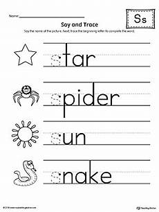 say and trace letter s beginning sound words worksheet myteachingstation com