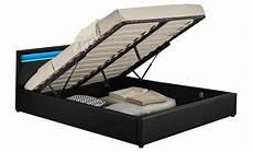 cadre de lit avec coffre arleta cadre de lit 224 led avec coffre noir 160x200cm