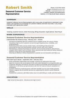 seasonal customer service representative resume sles qwikresume