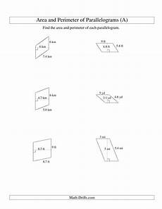 measurement area and volume worksheets 1628 area and perimeter of parallelograms whole number base range 1 9 a measurement worksheet