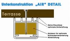 terrasse gefälle vorschrift air alu unterkonstruktion mit hinterl 252 ftung