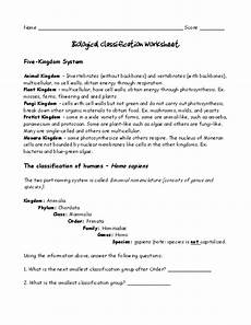 pdf biological classification worksheet five kingdom