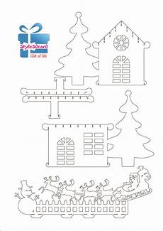 merry christams invitation house new year gift cards kirigami pattern 4 kirigami patterns