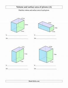 volume and surface area of rectangular prisms with decimal numbers a