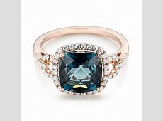 London Blue Topaz And Diamond Halo Fashion Ring #103767