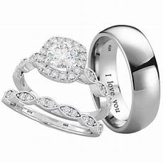 his and hers titanium 925 sterling silver wedding engagement ring band