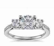 three stone pav 233 diamond engagement ring in platinum 2 3 ct tw blue nile
