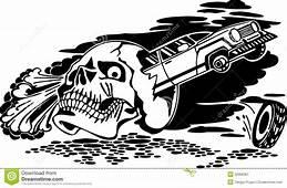 Skull And Car Vector Illustration Royalty Free Stock