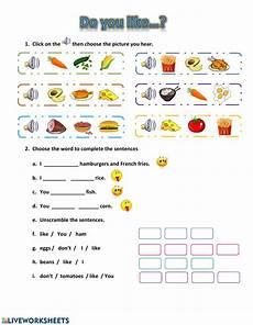 likes and dislikes food interactive worksheet
