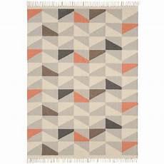tapis contemporain 224 motifs g 233 om 233 triques en orange
