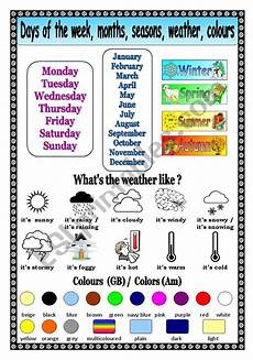 worksheets for days of the week and months 18833 days of the week months seasons weather colors esl worksheet by mags24