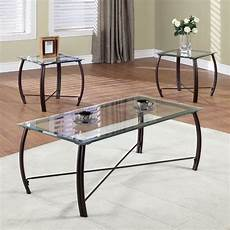 3 modern elegance glass metal coffee end table set