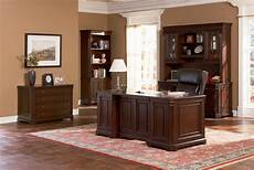 brown desk classic paneled home office furniture collection in medium walnut finish