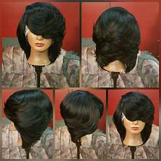 feathered black bob in 2019 quick weave hairstyles