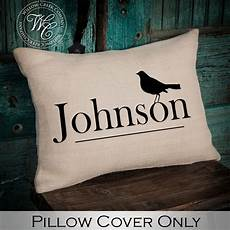 bird custom monogram pillow personalized wedding gift burlap