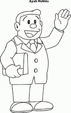 Doraemon Mewarnai Gambar Ayah Nobita Contoh Anak Paud