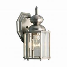 progress outdoor wall light with clear glass in brushed nickel finish p5756 09 destination
