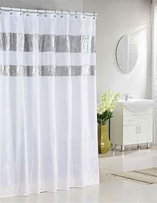 white striped shower curtain white fabric shower curtain with silver metallic