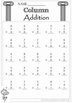 addition of whole numbers worksheets for grade 3 9253 column addition 1 digit 3 addends column addition addition worksheets free math worksheets
