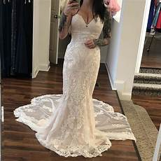 stella york ivory tulle lace fit and flare 6753 formal wedding dress size 8 m tradesy
