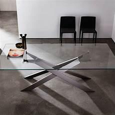 table design verre table de salle 224 manger design en verre et m 233 tal cross
