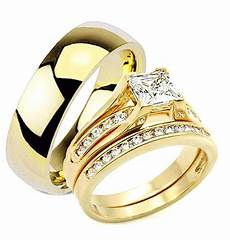 his and hers wedding rings 3 pc engagement wedding ring yellow gold plated ebay