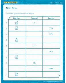 worksheets for all grades all in one percentage math printable for fifth grade math blaster