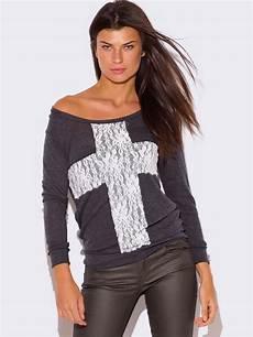sleeve lace cross applique top modishonline