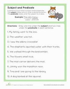 complete subject and complete predicate worksheet education com