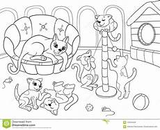 childrens coloring book family on nature cat