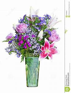 colorful flower bouquet in green vase stock image image