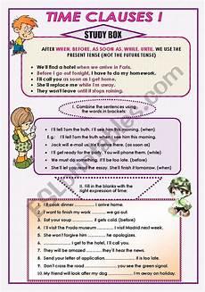 time clauses worksheets 2951 time clauses i esl worksheet by moni k