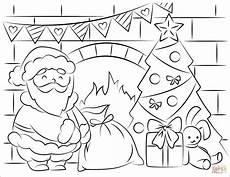 santa claus bringing presents in coloring page