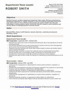 team leader resume sles qwikresume
