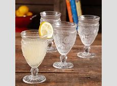 The Pioneer Woman Adeline Embossed 12 Ounce Footed Glass