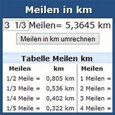 Umrechnung Meilen In Km Rechner Und Tabelle