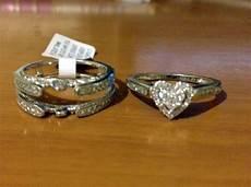 14k white gold bridal wedding heart shape diamonds ring vintage cathedral heart shaped