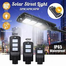 20w 40w 60w led wall street solar light radar induction motion sensor outdoor solar l in