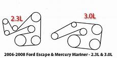ford escape 2 3l engine diagram 2006 2008 ford escape and mercury mariner 2 3l and 3 0l serpentine belt diagram
