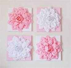 nursery wall decor of four light pink and white flower
